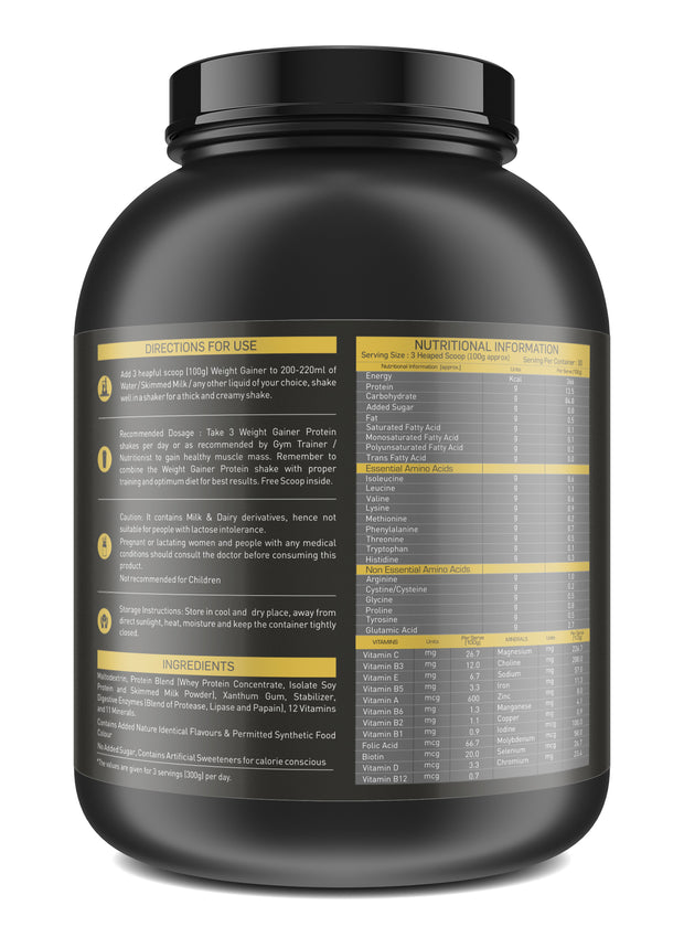 Nakpro Sports Gold Weight Gainer Protein Powder Supplement with Digestive Enzymes and Vitamin & Minerals - Strawberry