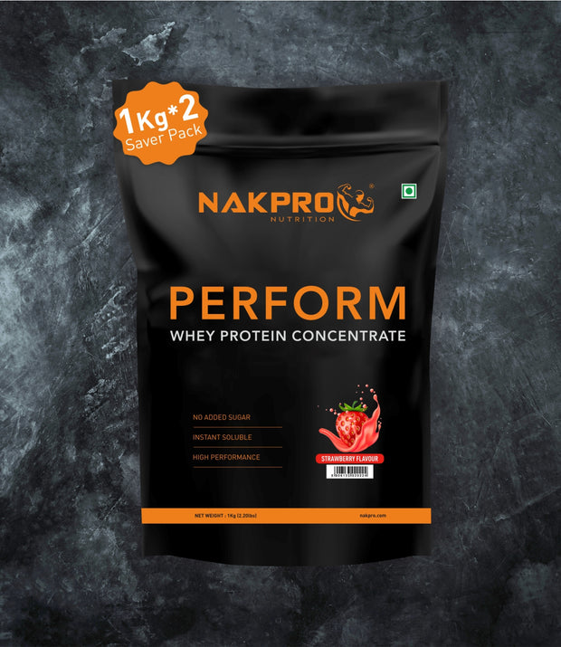 NAKPRO Nutrition Strawberry flavored perform whey protein powder 2 kg pack