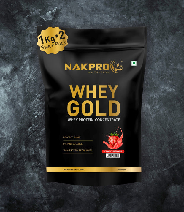NAKPRO Nutrition whey gold concentrate whey protein powder 2 Kg Strawberry