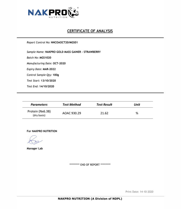 NAKPRO Nutrition Gold Mass Gainer Strawberry lab report