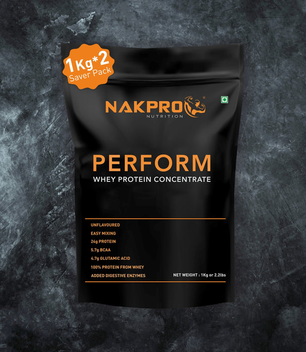 NAKPRO Nutrition Perform whey protein concentrate unflavored 2Kg powder