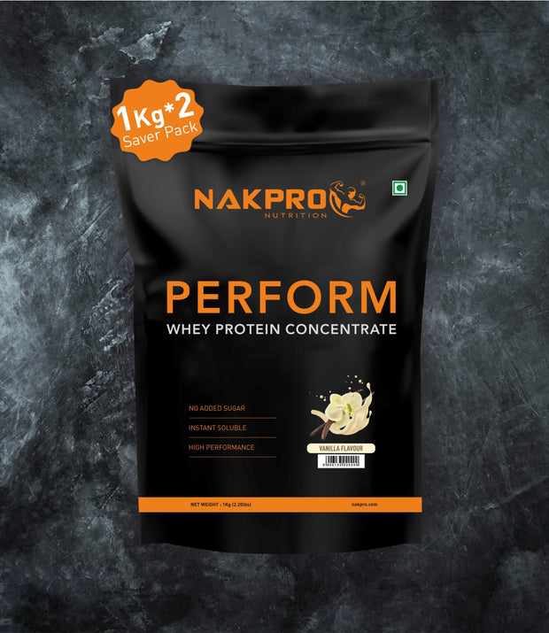 NAKPRO Nutrition Vanilla flavored Perform whey protein powder 2 kg pack
