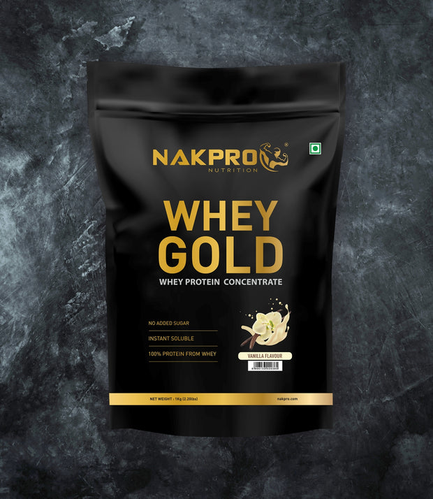 NAKPRO Nutrition whey gold concentrate whey protein powder 1 Kg vanilla