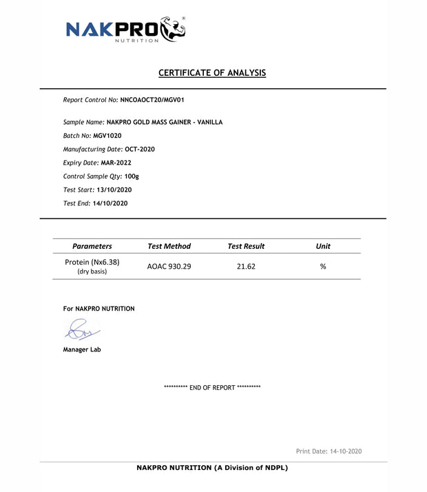 NAKPRO Nutrition Gold Mass Gainer vanilla lab report