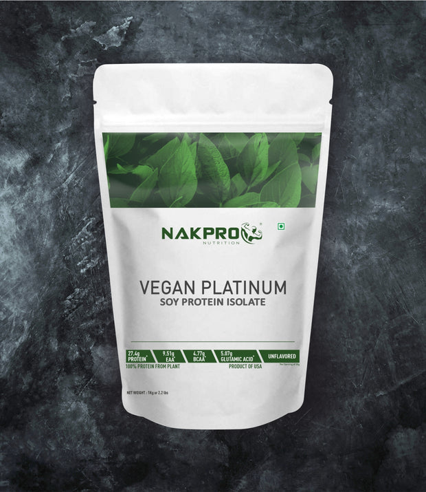 NAKPRO NUTRITION VEGAN PLATINUM SOY PROTEIN ISOLATE UNFLAVORED 1KG