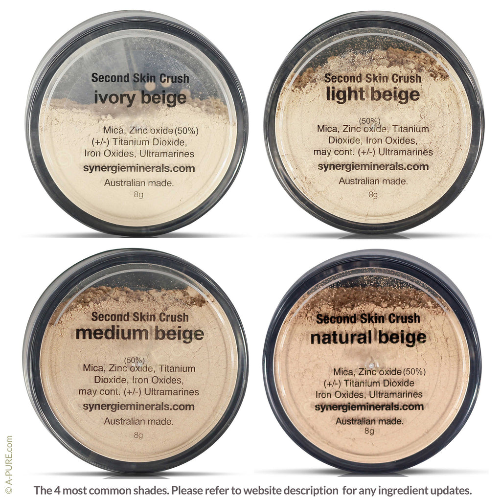 Synergie Minerals SECOND SKIN CRUSH (Loose Mineral Powder Foundation with 50% Zinc Oxide) - A-PURE Skincare Boutique