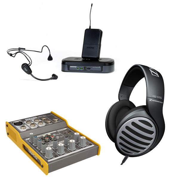 FM Unit: Package #4 - Wireless Headset, Wired Headphones