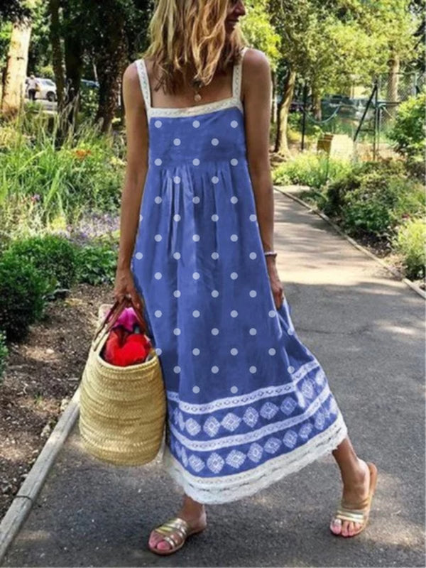 Plus Size Women Sleeveless Polka Dots Casual Dresses