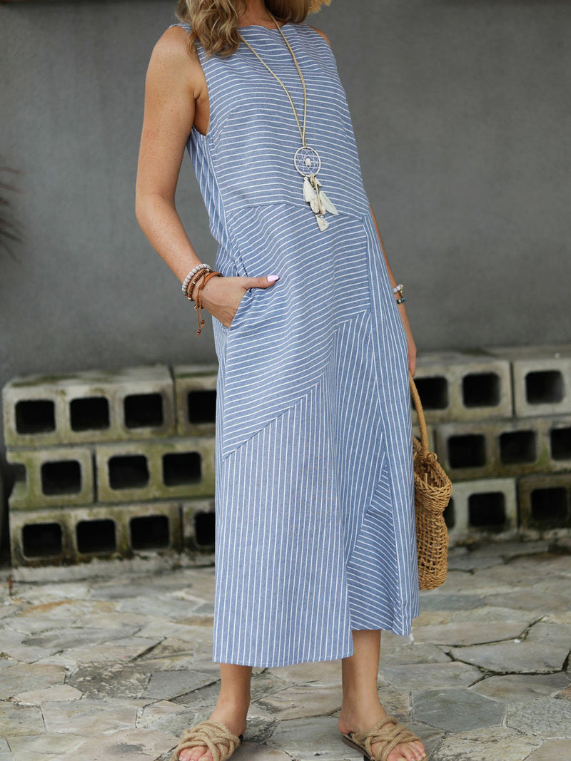 Cotton Striped Dresses Crew Neck Light Gray Women Dresses Shift Daily