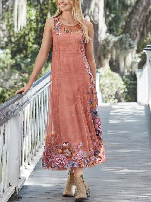 Floral Round Neck Sleeveless Dresses
