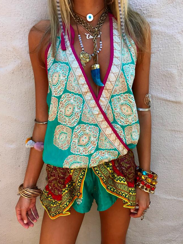 Cotton-Blend Boho One-Pieces