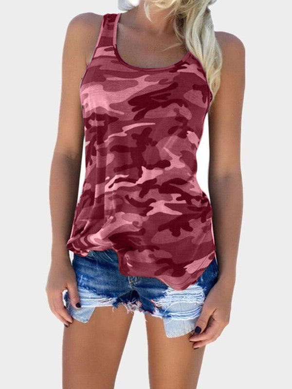 Sleeveless Printed/Dyed Sexy Camouflage Tanks  Cami