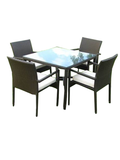 Esabel 5 Piece Garden Cushioned Chairs Grouped With Glass Square Table