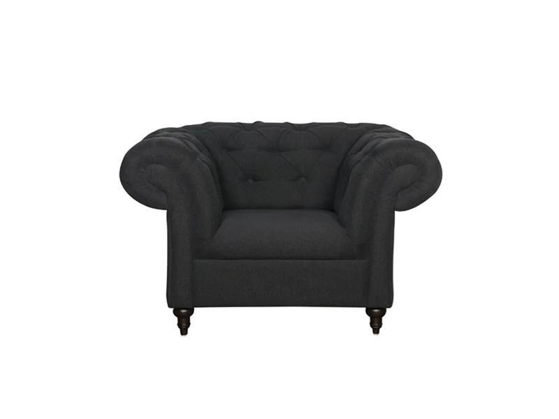 Andres 1 Seater Sofa - Black Leatherite