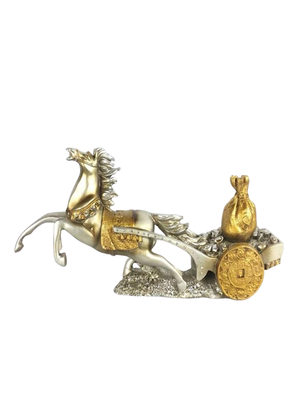 Gold Chaise Horse With Cart