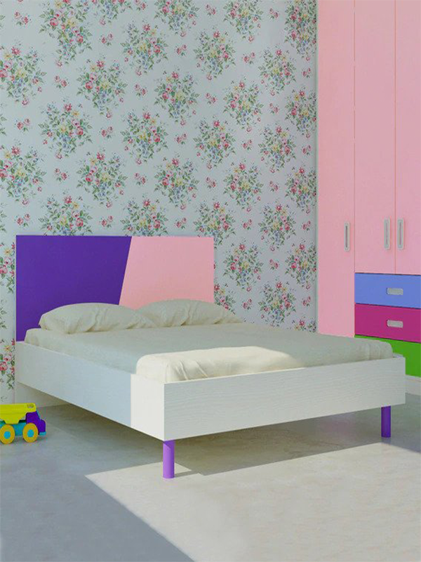 Adamek Queen Bed in Lavender Purple & English Pink Colour - Urban Galleria