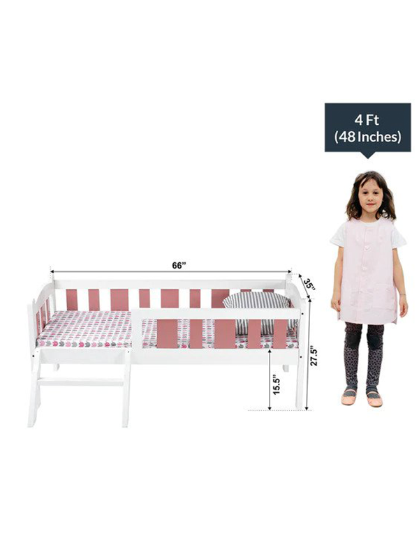 Rondo Kids Bed in White with Pink Stirpes