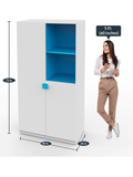 Breckon 2 Door Wardrobe with Sky Blue Top Shelf