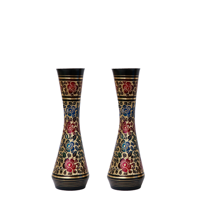 Langlois Pair of Vases - Gold & Black