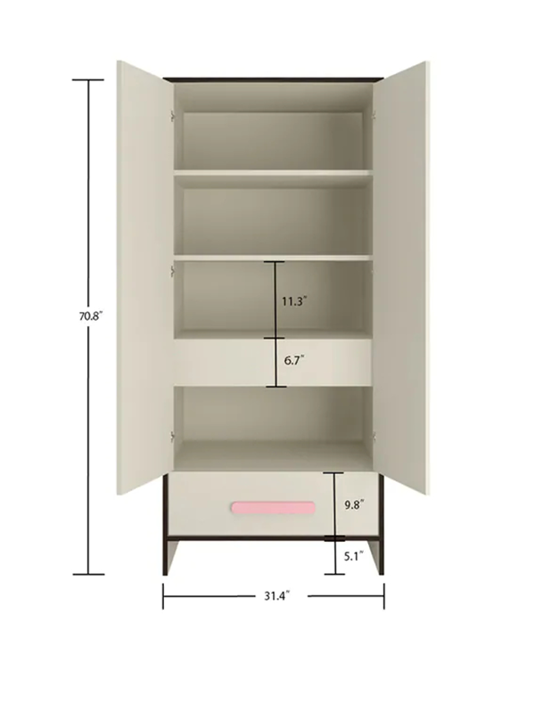 Backes Kids 2 Door Wardrobe In English Pink Finish - Urban Galleria