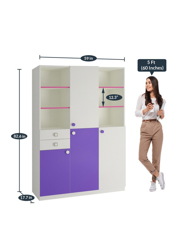 Oundus Kids Bookshelf Cum Cabinet in Lavender Purple & Barbie Pink Finish