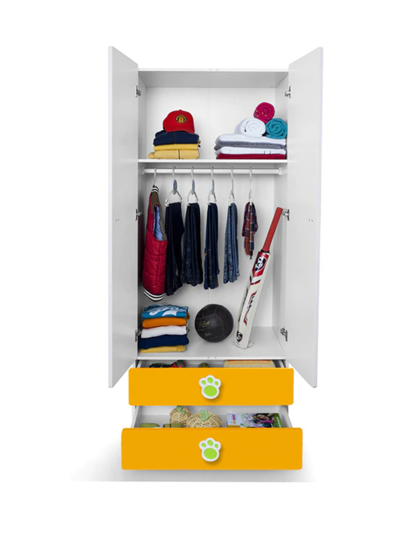 Artemis Two Door Wardrobe in Yellow, Green & White Colour