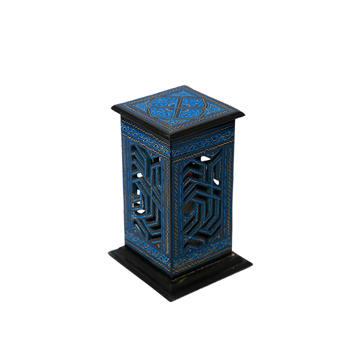 Blue Laquer Wooden Lamp