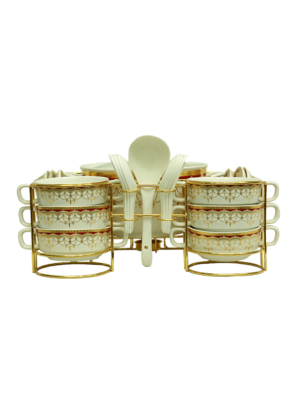 Soup Set- White and Gold