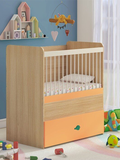Marley Adjustable Crib with Drawer in Pulpy Orange
