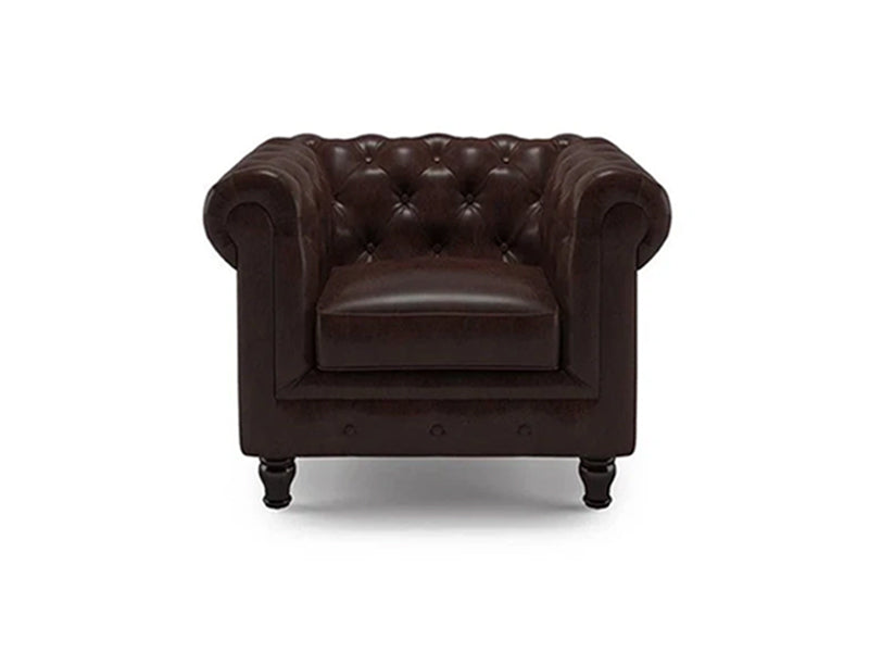 Valerie 1 Seater Sofa - Brown Leatherite