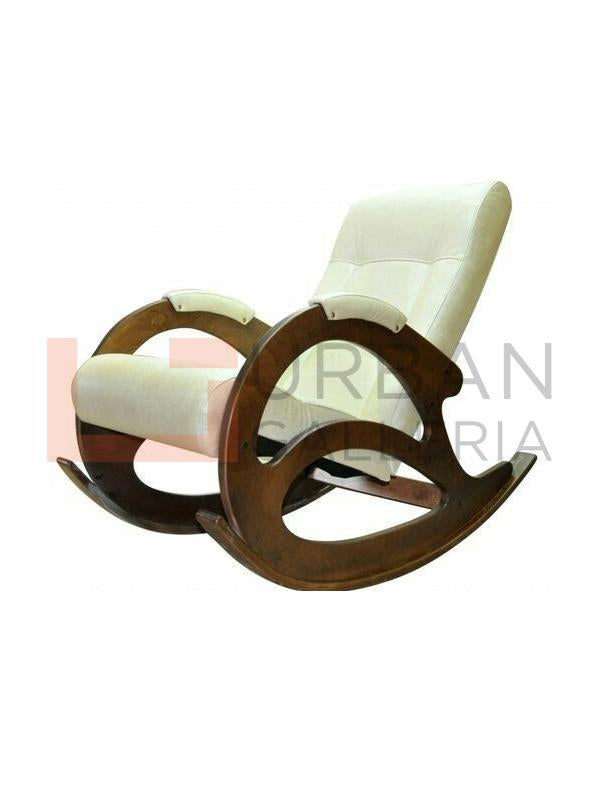 Leather Seat Rocking Chair Off white