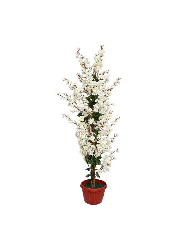 Cara Floor Planter- White Flowers