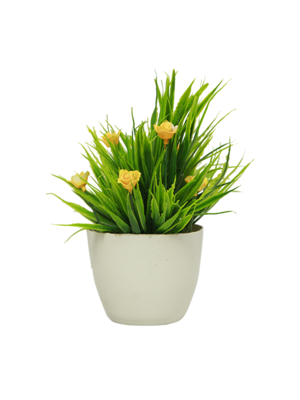Floral Round Pot Planter-Yellow flowers