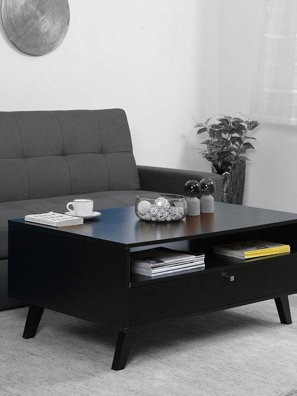 Perla Coffee Table with One Drawer in Black Colour