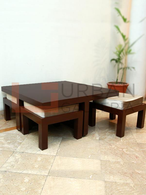 Adalicia Coffee Table with 4 Stools - Urban Galleria