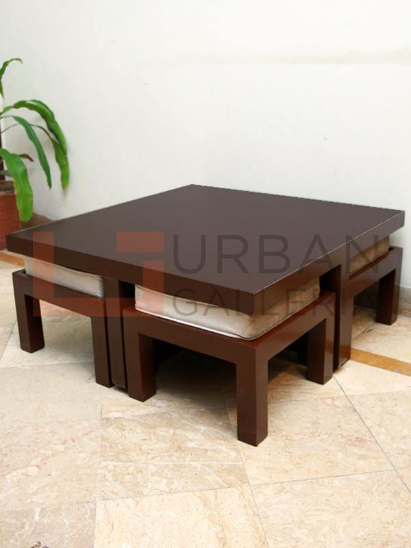Adalicia Coffee Table with 4 Stools