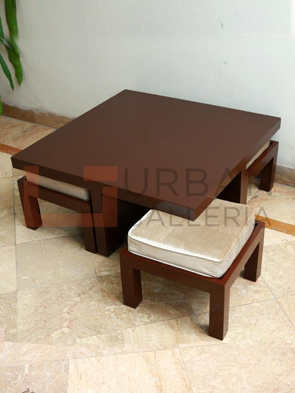 Adalicia Coffee Table With 4 Stools Urban Galleria
