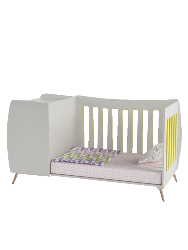 Emery Crib with Removable Side Railing in Yellow color