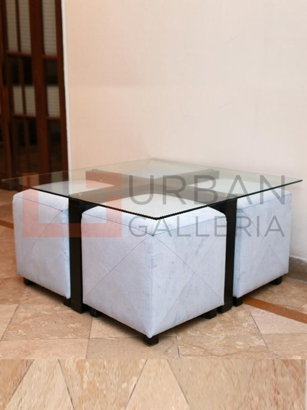 Four Stools Glass Top Coffee Table