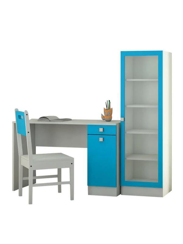 Adelmis Study Desk, Chair and Bookshelf Set In Azure Blue Finish