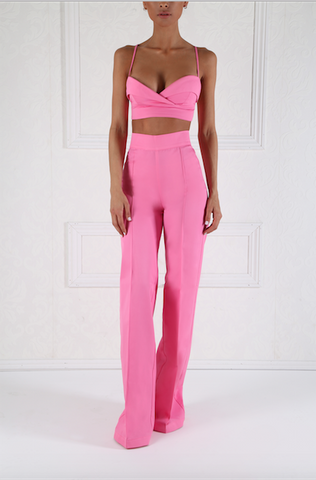 Rich Pink High Waist Pleated Trousers