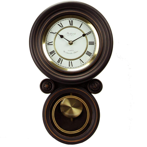 BedfordClockCollection Clocks Bedford Clock Collection 16.5 Inch Contemporary Round Wall Clock with Pendulum