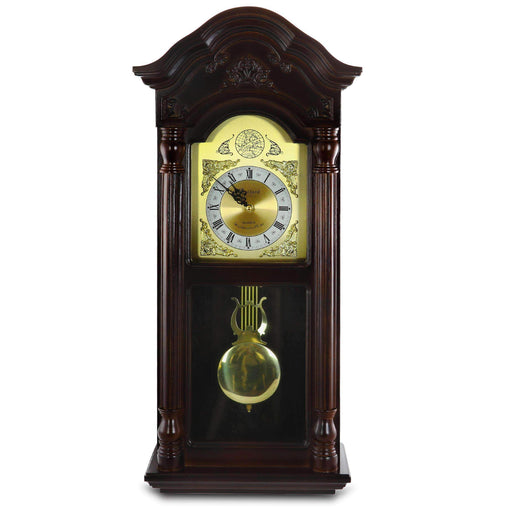 BedfordClockCollection Clocks Bedford Clock Collection 25.5 Inch Antique Mahogany Cherry Oak Chiming Wall Clock with Roman Numerals