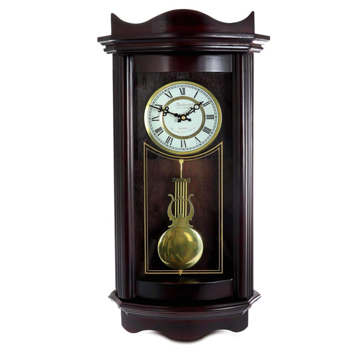 BedfordClockCollection Clocks Bedford Clock Collection 25 Inch Chiming Pendulum Wall Clock in Weathered Chocolate Cherry Finish