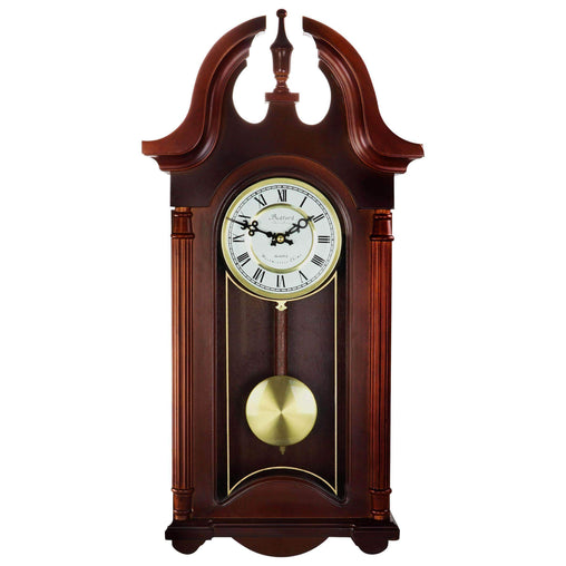 BedfordClockCollection Clocks Bedford Clock Collection 26.5 Inch Chiming Pendulum Wall Clock in Cherry Oak Finish - Reconditioned