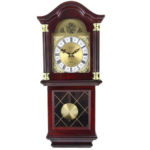 BedfordClockCollection Clocks Bedford Clock Collection 26 Inch Chiming Pendulum Wall Clock in Antique Mahogany Cherry Oak Finish
