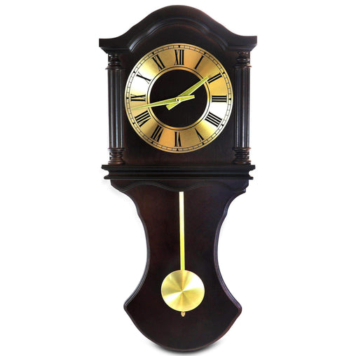 BedfordClockCollection Clocks Bedford Clock Collection 27.5 Inch Wall Clock with Pendulum and Chimes in Chocolate Brown Oak Finish