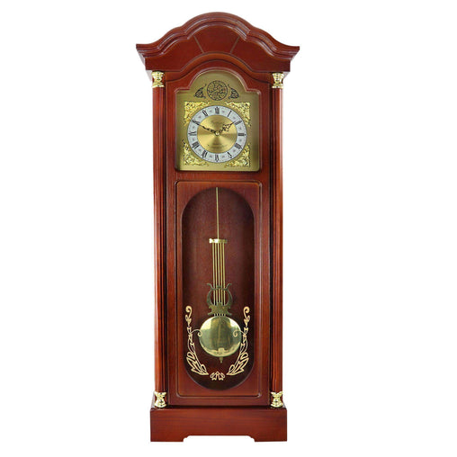 BedfordClockCollection Clocks Bedford Clock Collection 33 Inch Chiming Pendulum Wall Clock in Antique Cherry Oak Finish