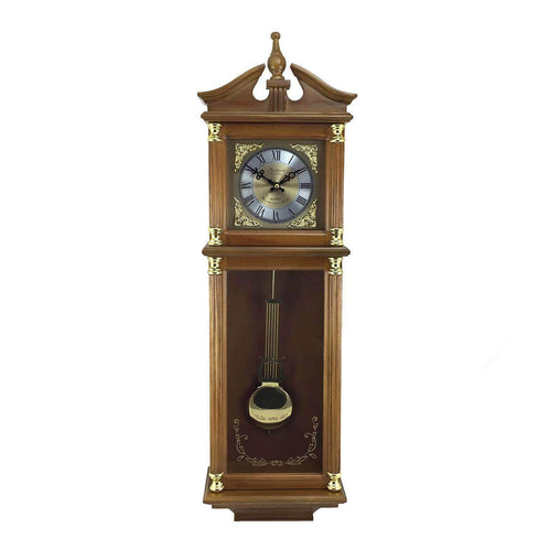 BedfordClockCollection Clocks Bedford Clock Collection 34.5 Inch Chiming Pendulum Wall Clock in Antique Harvest Oak Finish