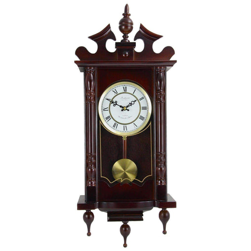 BedfordClockCollection Clocks Bedford Clock Collection Classic 31 Inch Chiming Pendulum Wall Clock in Cherry Oak Finish